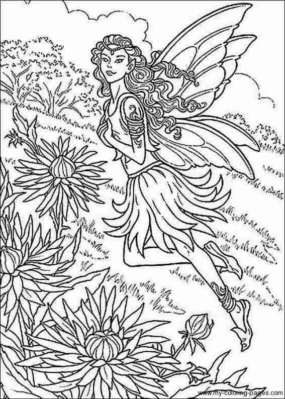 fantasy realistic fairy coloring pages - photo#13