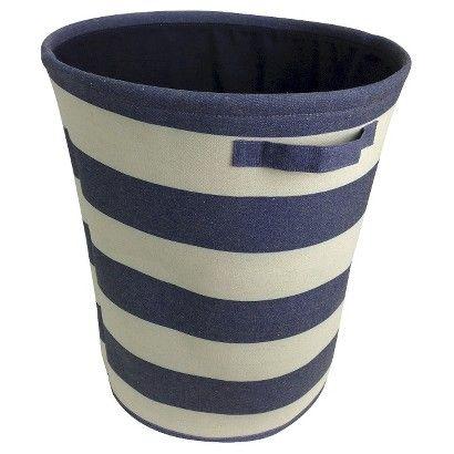 Circo Round Linen Basket Blue Overalls Striped