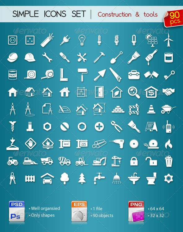 90 Simple Icons • Construction •   #GraphicRiver         Hello gyus. Here's my new set of simple icons • CONSTRUCTION •  	 Set includes: Layered PSD (only shapes), EPS and PNG files.  	 Hope you find it useful!  My other Icons sets                Created: 19October11 GraphicsFilesIncluded: PhotoshopPSD #TransparentPNG #VectorEPS HighResolution: No Layered: Yes MinimumAdobeCSVersion: CS PixelDimensions: 1400x1500 Tags: black #blog #brush #building #consruction #equipment #home #house #icon…