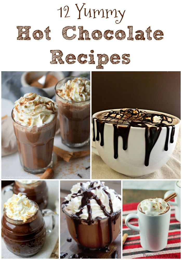 12 yummy hot chocolate recipes to warm you up this winter.