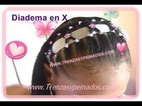 Peinados para niñas. Curso #10 ( LA DIADEMA EN X ) - YouTube