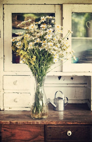Vintage kitchen with daisies