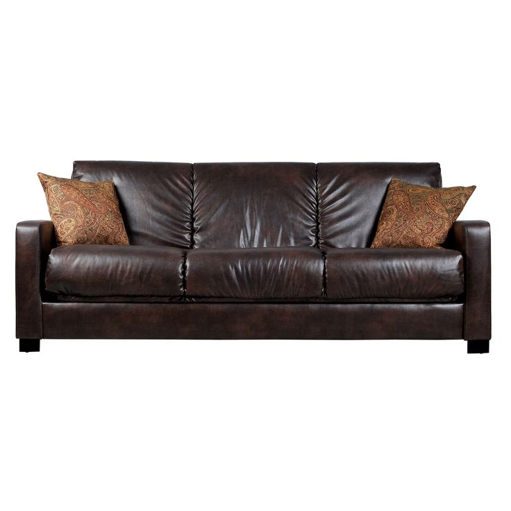 Comfortable and stylish, the Portfolio Trace Convert-a-Couch futon sofa features a three-position hinge which allows you to sit, lounge or sleep two comfortably. The futon sofa is covered in a durable Renu leather fabric and works well in any decor.