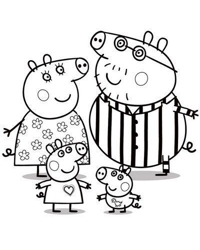 Peppa pig da colorare - Peppa Pig con la sua famiglia