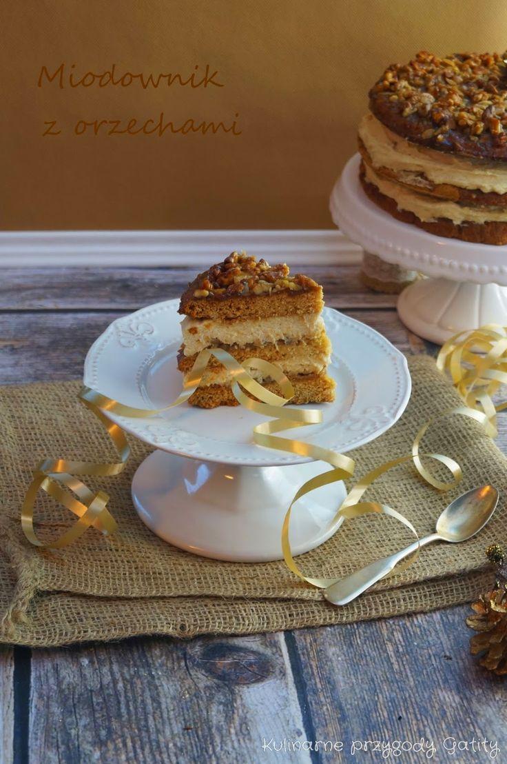 Kulinarne przygody Gatity: Ciasto miodowe z orzechami