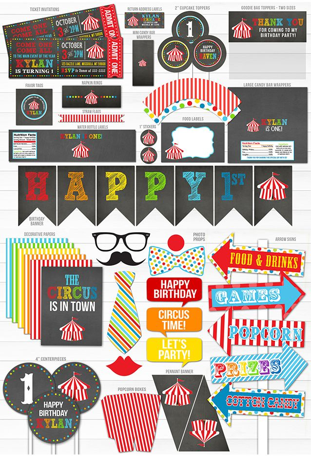Printable Circus Chalkboard Birthday Party Package Decor   Circus Ticket   Carnival   Kid or Adult Party   DIY Decorations   Cupcake Toppers   Ticket Invitation   Favor Tags   Photo Props   Food Labels   Banner   Arrow Signs
