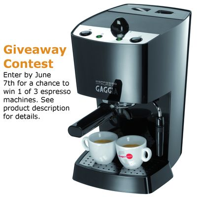 Repin to win - Get a free Gaggia Espresso Pure / Black Espresso Machine or 1 of 2 other espresso machine options.   You can enter the contest multiple ways, multiple times. One winner will be selected at random from the people who do any of the items listed in the product description - each item counts as another entry:   http://www.espressooutlet.net/gaggia-espresso-pure-black-espresso-machine/