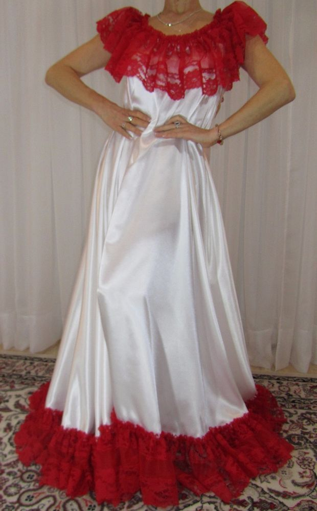 Vtg satin nylon lace lingerie nightgown long full sweep negligee 2X-4X         #Unbranded #RobeGownSets