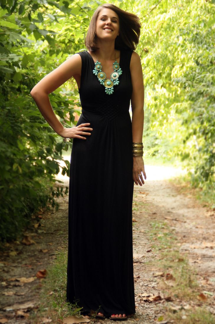 Black black t shirt maxi dress - What I Wore Jessica Quirk Hostess Dress Maxi Dress Costume Necklace Black Summer Dressesblack