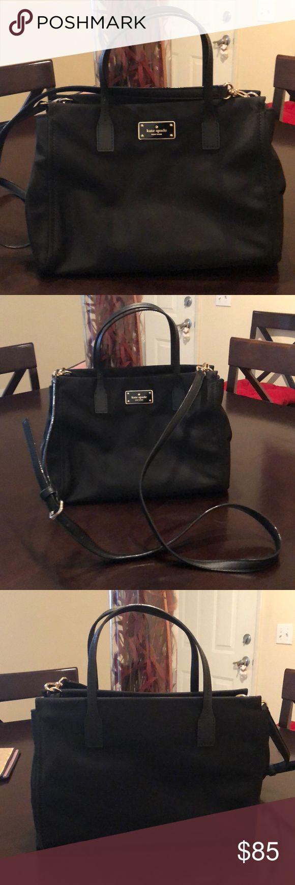 Kate Spade Black fabric bag Kate spade black bag 8 in tall x 12 in wide, with extra strap to make it a crossbody. Waterproof fabric. Check the matching wallet in my closet!! kate spade Bags Mini Bags
