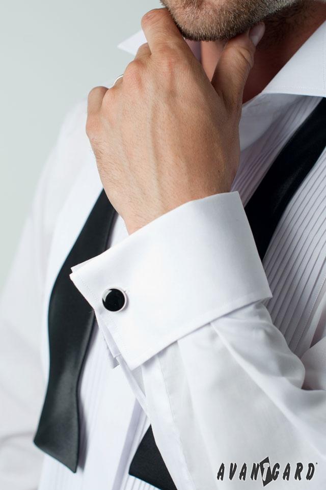 Fraková košile s plisováním, rozvázaný pánský vázací motýlek a manžetové knoflíky AVANTGARD