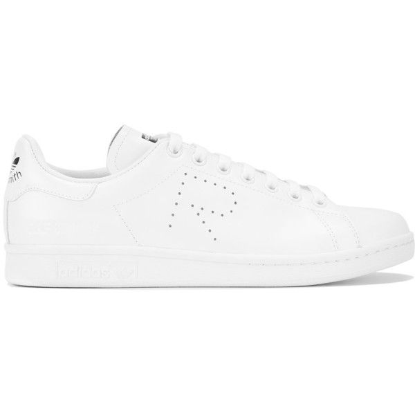 Raf Simons - Stan Smith sneakers - women - Leather/rubber - 8.5 (£225) ❤ liked on Polyvore featuring shoes, sneakers, white, white shoes, raf simons shoes, white leather sneakers, raf simons and white leather trainers