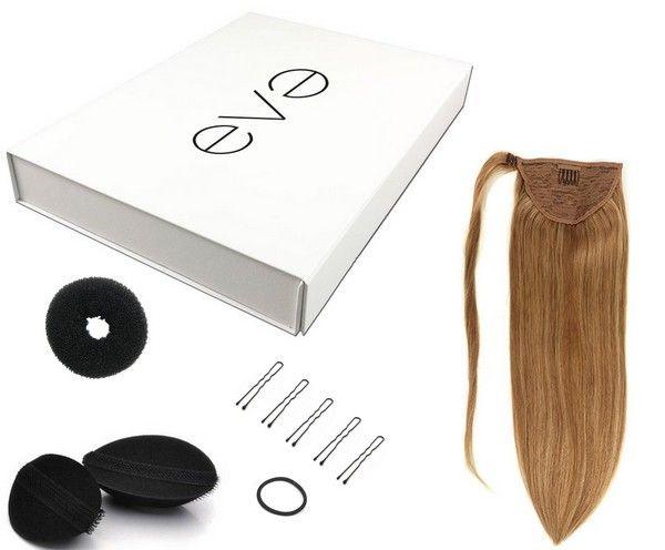 Coffret coiffure avec ponytail à enrouler en cheveux naturels double drawn. Coiffez vos cheveux et donnez du volume avec les #bumpit #donut #epingle  https://www.eva-extensions.com/ponytail/extensions-postiche-naturel-40cm/queue-cheval-extensions-coffret-detail.html  #ponytail #rajout