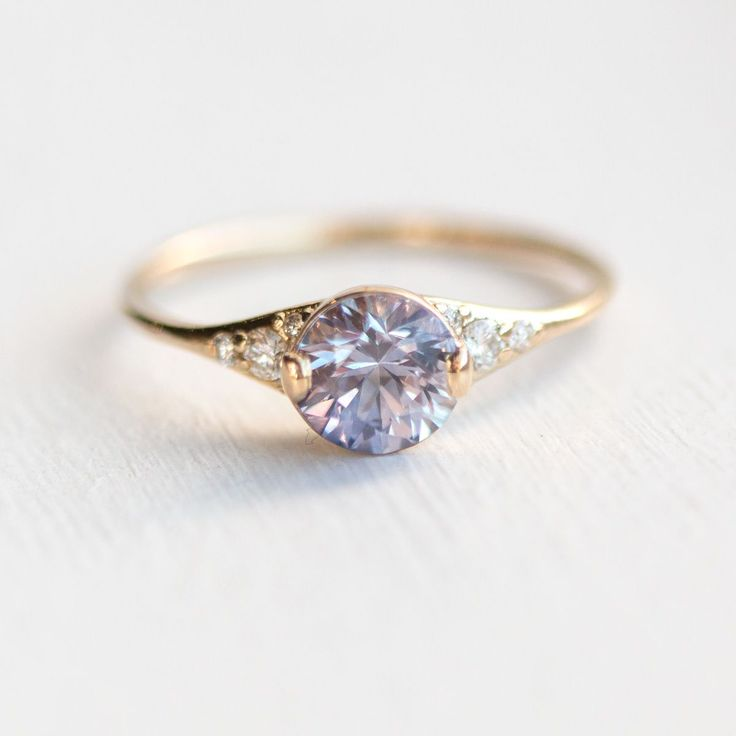 Lilac Sapphire Lady's Slipper Engagement Ring in Solid 14k Yellow Gold, handmade by artisan Melanie Casey