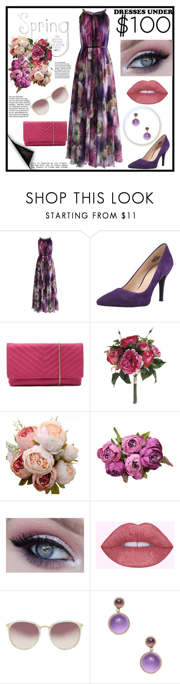 """#under100"" by christinadrussell ❤ liked on Polyvore featuring Chicwish, Nine West, Jendi, Linda Farrow, Goshwara and dress"