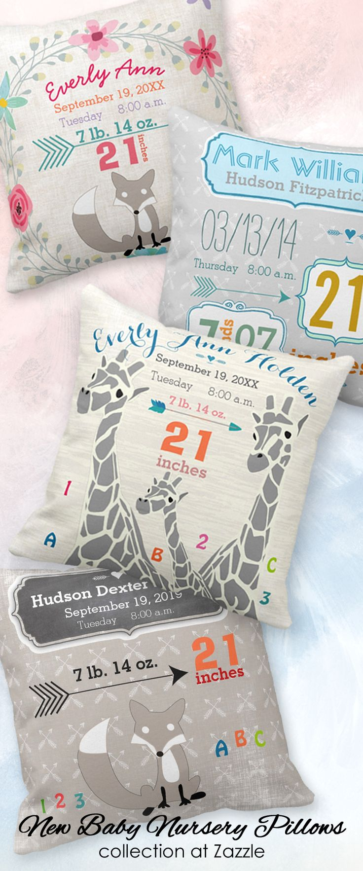 Elephants, giraffes and owls ... oh my! Give the combined gift of a lovely decor item for baby's nursery and keepsake memento for new parents | This adorable collection of new baby birth stats pillows features varied themes for a baby girl or baby boy, including woodland animals and safari animals plus other stylish and trendy themes from which to choose | click to view this large assortment of pillows and other new baby gifts all in one collection ... at Zazzle #newbabygifts #newbabynursery