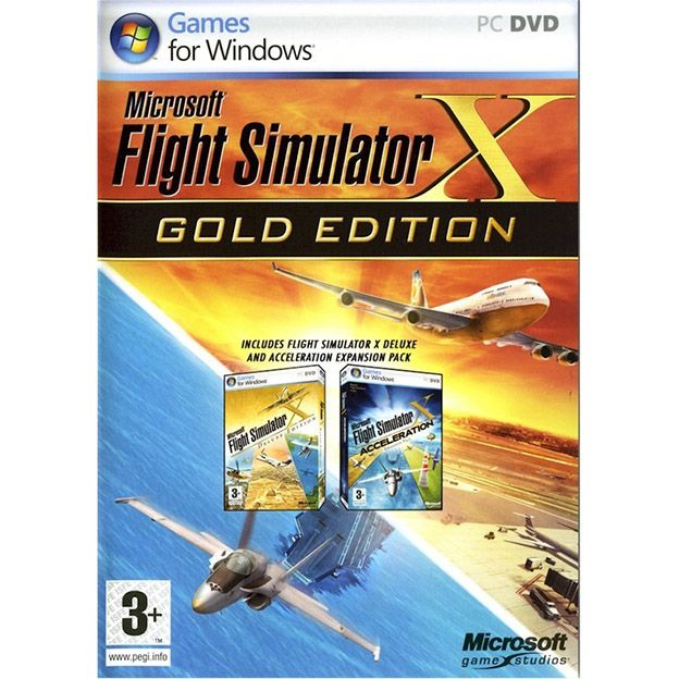 FLIGHT SIMULATOR X -GOLD EDITION.  En español Microsoft Flight Simulator es el más conocido simulador aéreo de la historia.  FSX Gold te traerá por primera vez más de 80 misiones para elegir, desde las que poder retar las habilidades de los jugadores de cualquier nivel. Con una vista del mundo desde los 100 hasta los 100.000 pies, el jugador podrá elegir cómo volar, hacia donde hacerlo y las condiciones reales en las que realizar el vuelo, algo nunca visto antes en el mundo. Precio de 26.99€