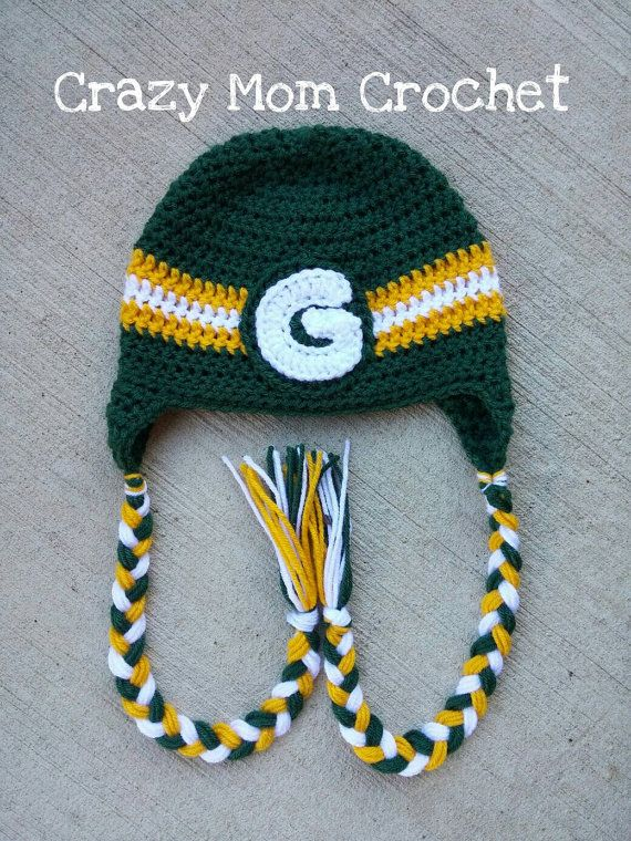 Green Bay Packers Handmade Crocheted Hat Green by CrazyMomCrochet3