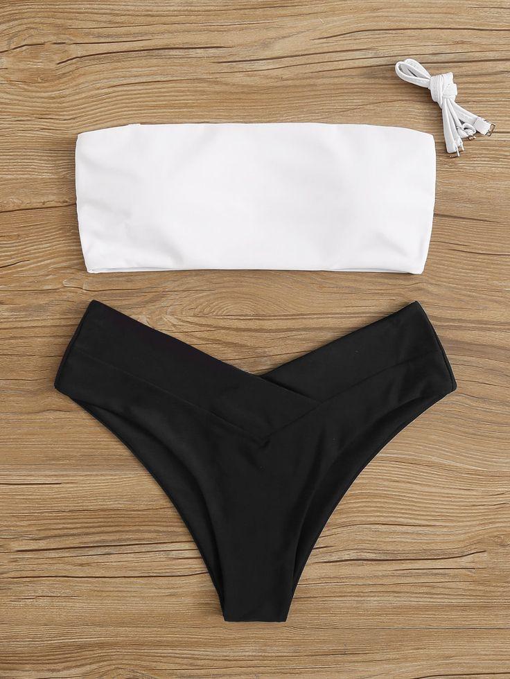 #ad Two Tone Bandeau Top With High Leg Bikini Set. #Yescanberemoved#BlackandWhit…