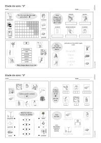 plusieurs exercices destinés à travailler la discrimination auditive, la discrimination visuelle, la reconnaissance des mots, la localisation des syllabes, la reconnaissance des silhouettes, la lecture et l'écriture de syllabes et de mots...