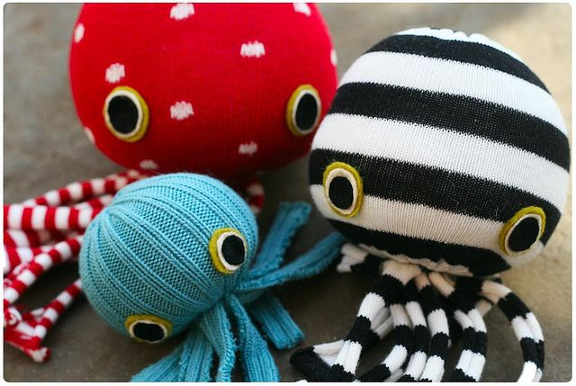 Socktopuses. Fill a sock with foam or cotton batting and tie shut. Cut legs from bottom and add felt eyes.