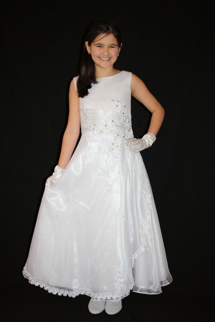 Satin and Organza First Communion Dress from Silk n Satin Communion Dresses.  $75 https://silknsatincommuniondresses.com.au/product/communion-dress/