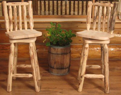 Bar stools with logs and leather