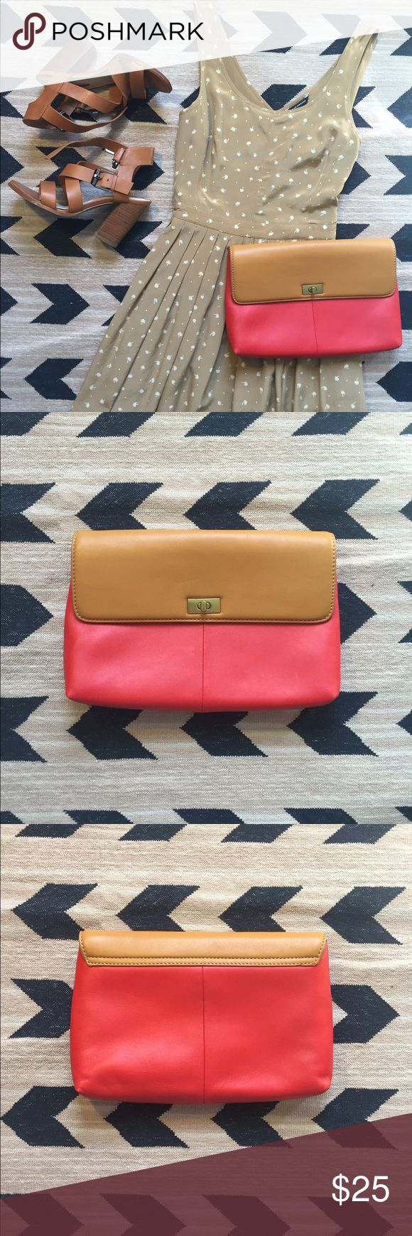 J Crew factory clutch from outlet. NWOT.  J Crew clutch from outlet.  Never used.  Tan and coral red.  Minor dents as shown in photo. J. Crew Factory Bags Clutches & Wristlets