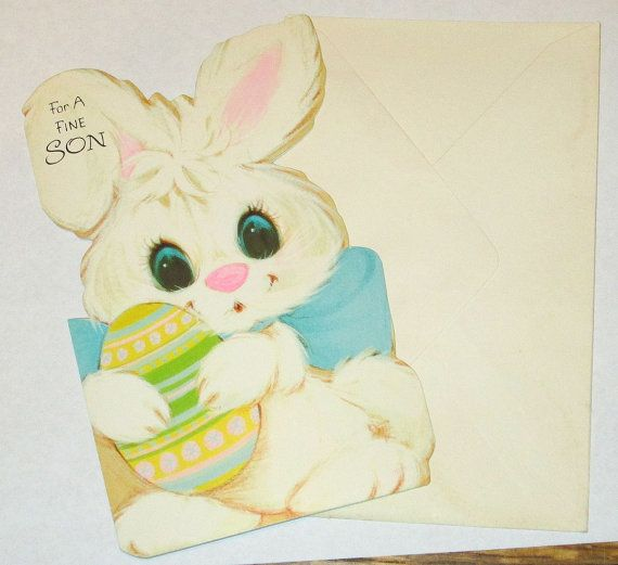 Old Vintage unused 1970'S cute children's Easter Bunny Rabbit Egg For a fine Son greeting card w envelope nice for giving or crafts cute