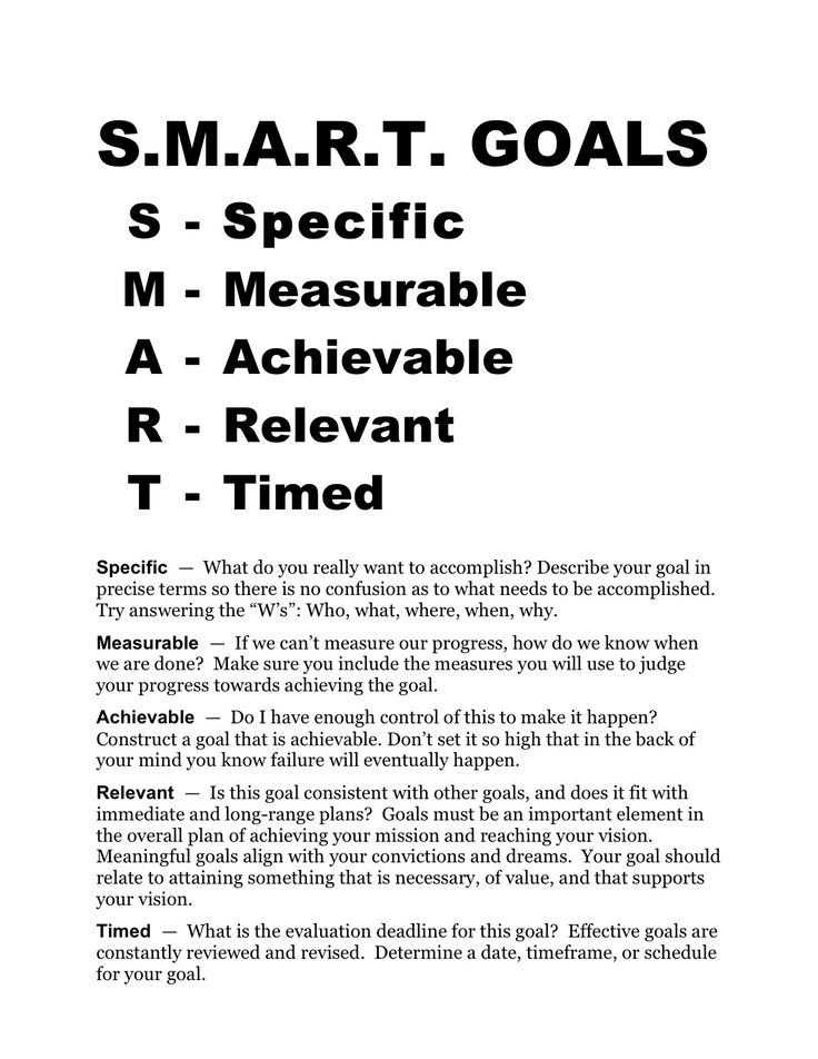 Smart Goals Worksheet | SMART GOALS