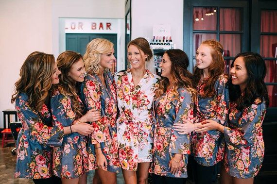 bridesmaids robes floral bridesmaids robes cotton by MonoRobes