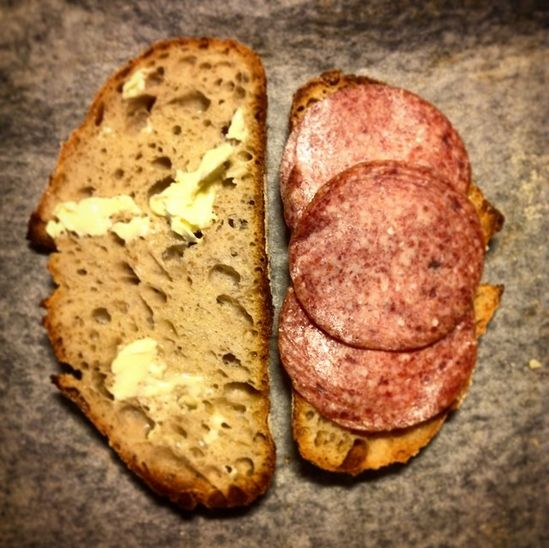"""I like to keep it rather simple: just some butter and a few slices of Meetvursti, the salami version from Finland."" — @jarkkolaine"