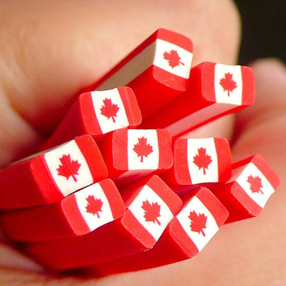 Canada Flag Polymer Clay Cane Canadian Flag Fimo by MiniatureSweet, $1.20