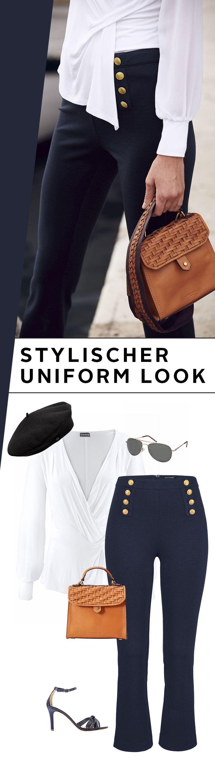 Auch ohne eigenes Boot macht dich dieses zauberhafte Marine-Outfit zum Style-Kapitän! Die 7/8-Hose im Uniform-Look passt super zum Langarmshirt von Bruno Banani und den eleganten Sandaletten. Setz die Segel für einen atemberaubenden Auftritt!