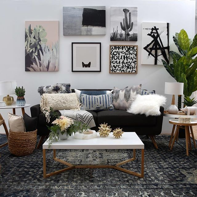 We're so EXCITED to share the official photos of the #modernboho living room + dining room that we designed with @Wayfair!! Get inspired #onGWS and shop the GWS curated collection with the link in our bio! #WayfairWedding #partner #homeinspiration