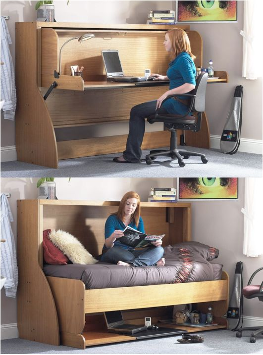 http://www.spacesavingbeds.co.uk    Why have a dedicated guest bedroom for chance visits when you can have a working office that serves two purposes? (By the way, everything on the desk STAYS PUT when the bed goes down)
