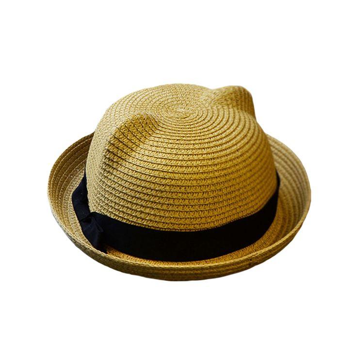 新しい赤ちゃんわら帽子夏子供cat耳装飾素敵なビーチcap子供女の子boy 12色太陽の帽子