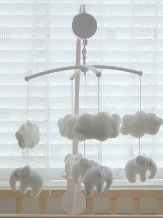 Baby Music Crib Mobile Sleeping Elephant White Grey Cot Handmade Felt Box Arm Attachment Hanger O