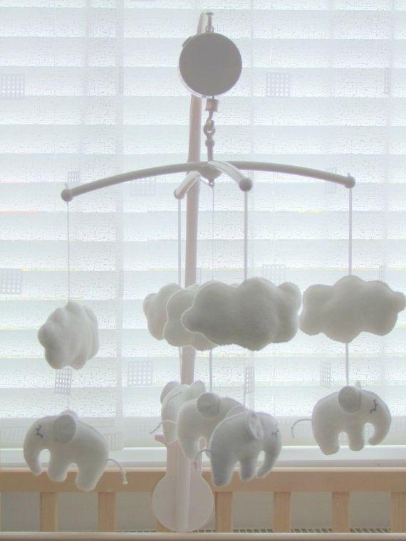 Baby Music Crib Mobile Sleeping Elephant White Grey Baby