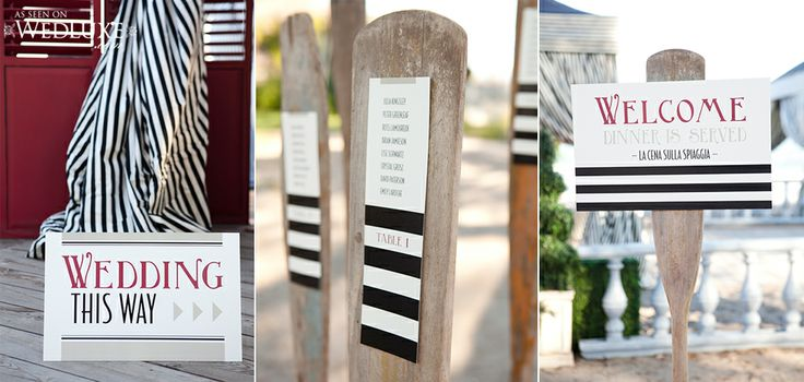 Signage for your wedding is a great touch! #signage #stationery #wedding #wedluxe #nautical #design #stripes #weddingstationery