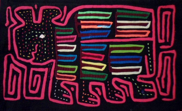 Kuna Indian HUNGOVER MUTT PUPPY DOG Mola Art-Panama 15102426L