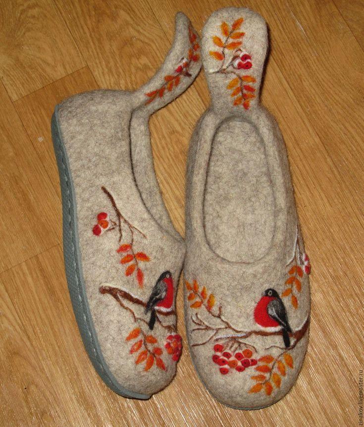 """Купить Валяные тапочки """"Lintu"""" - бежевый, Тапочки ручной работы, тапочки, тапочки домашние"""