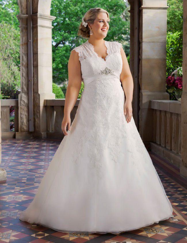51 best full figure wedding gowns images on pinterest for Wedding dresses for short curvy women