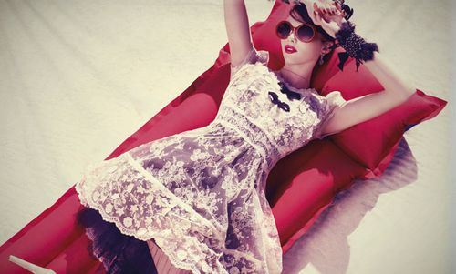 lace ruffle dress, red lipstick, tulle & big red sunglasses. {clothing from Alanna Hill}