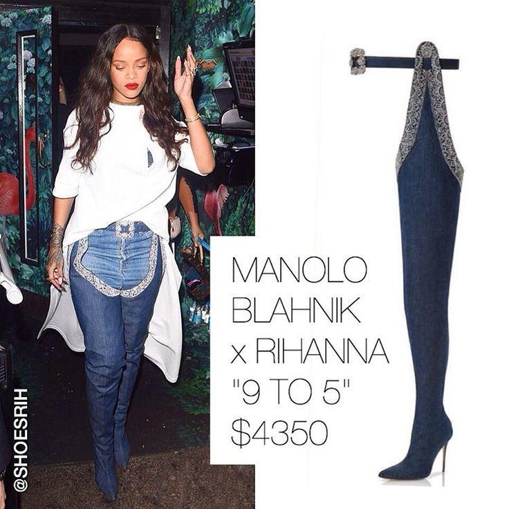 """Manolo Blahnik x Rihanna denim high """"9 to 5"""" boots from Denim Desserts collection $4350, @badgalriri 🇬🇧"""""""