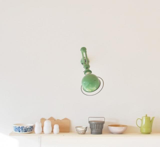 Green Jielde lamp in kitchen. Aurelie Lecuyer's house in France.
