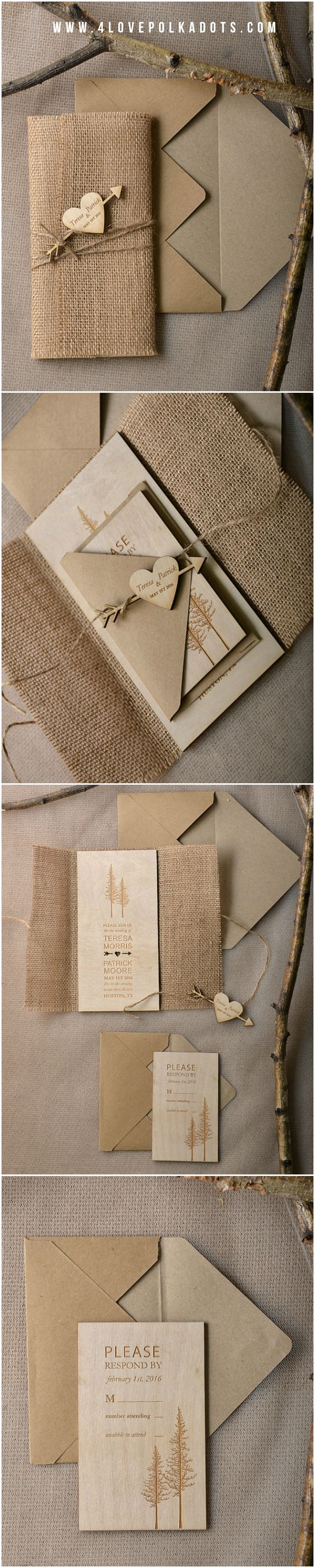 Wooden Wedding Invitations - burlap wrapping, heart tag, tree engraving #realwood #wood #rustic #forest #woodland #weddingideas #fairytale #nature