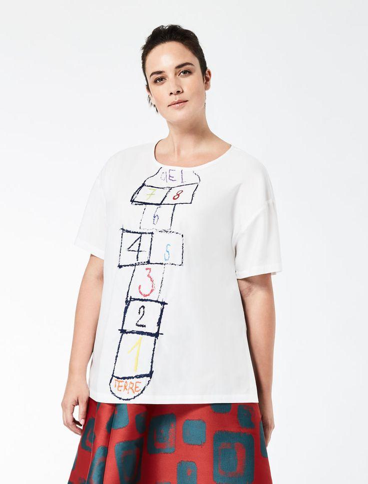 Marina Rinaldi BRUNELLA bianco: STELLA JEAN Blusa in popeline di cotone.
