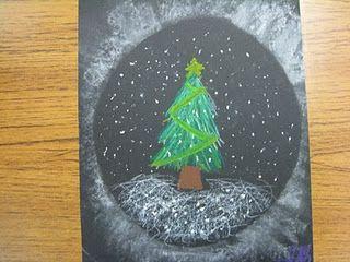 Kerst tafereel.Cirkel omtrekken op zwart papier. Binnen de cirkel tekenen. Daarna de cirkel er weer opleggen en met krijt uitvegen.