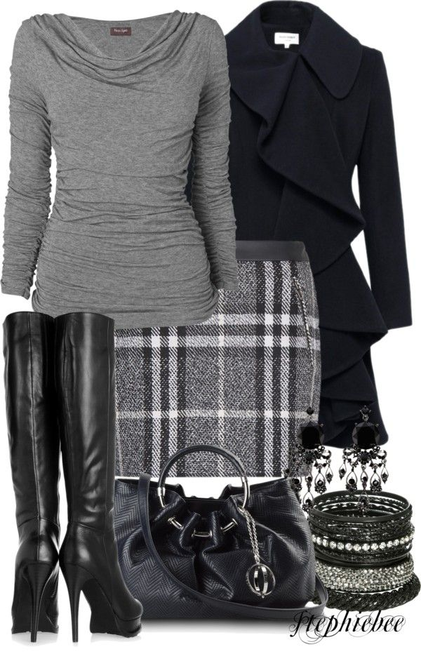 """Plaid Skirt"" by stephiebees on Polyvore. Great ensemble. I used to have some really cute plaid skirts... I wonder why I never replaced them:"